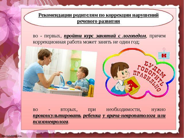 Рекомендации родителям по коррекции нарушений речевого развития во - первых,...