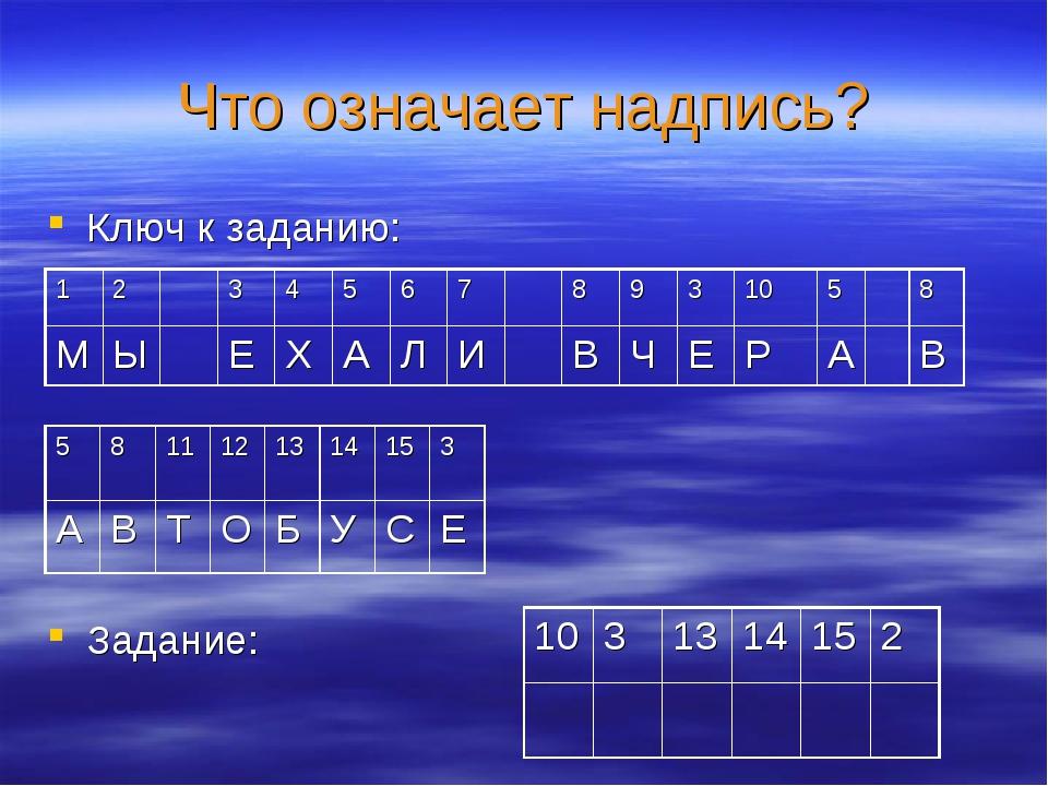 Что означает надпись? Ключ к заданию: Задание: 1031314152