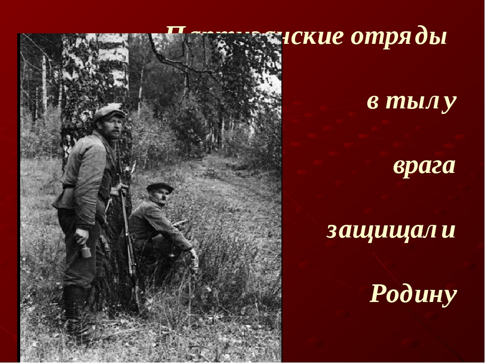 Партизанские отряды в тылу врага защищали Родину