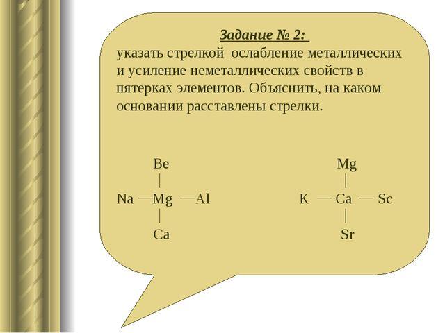Задание № 2: указать стрелкой ослабление металлических и усиление неметалличе...