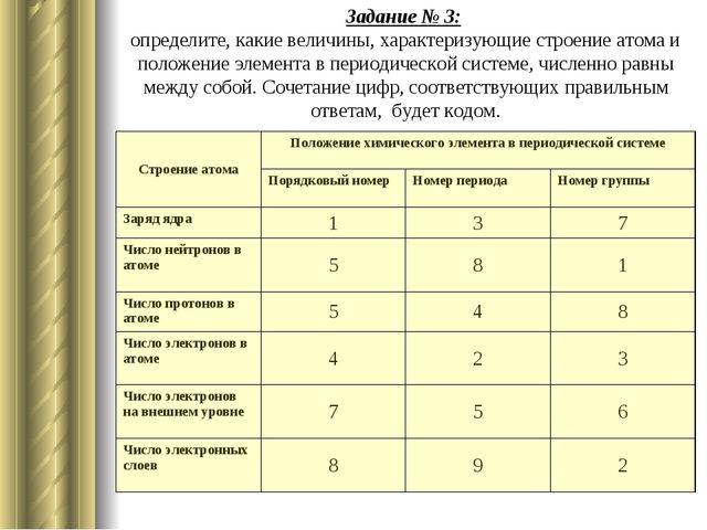Задание № 3: определите, какие величины, характеризующие строение атома и пол...
