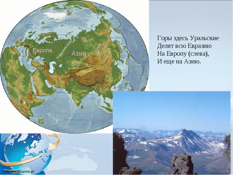 Горы здесь Уральские Делят всю Евразию На Европу (слева), И еще на Азию. Урал...