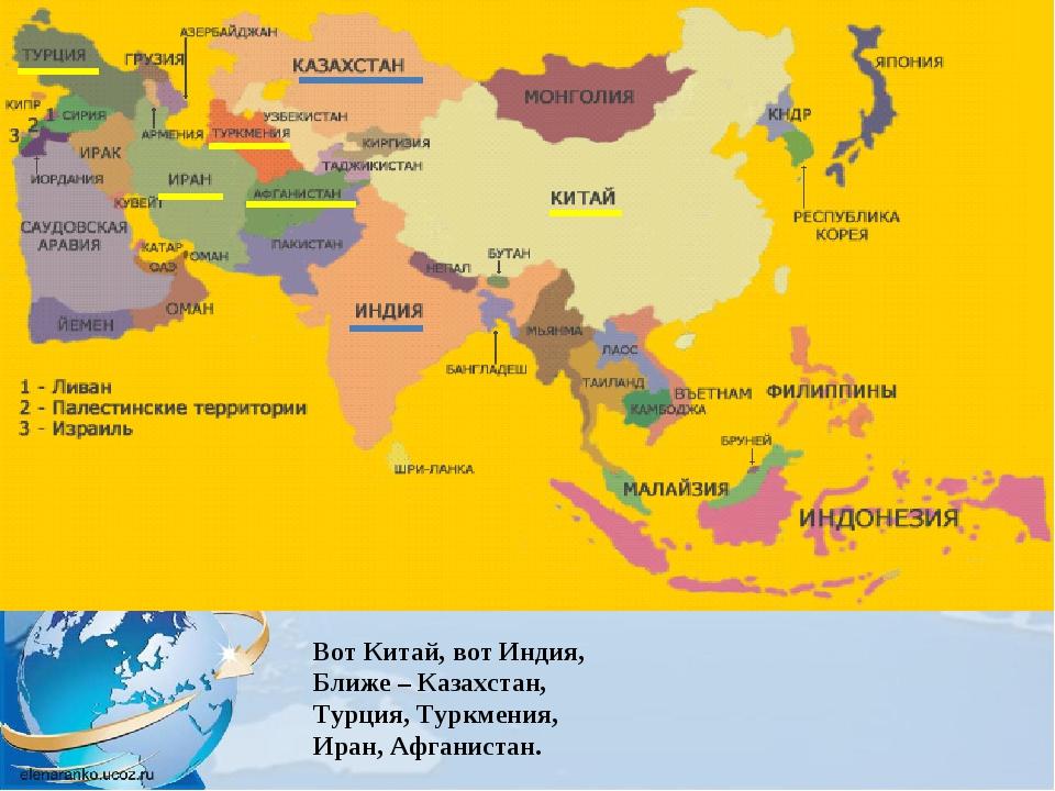 Вот Китай, вот Индия, Ближе – Казахстан, Турция, Туркмения, Иран, Афганистан.