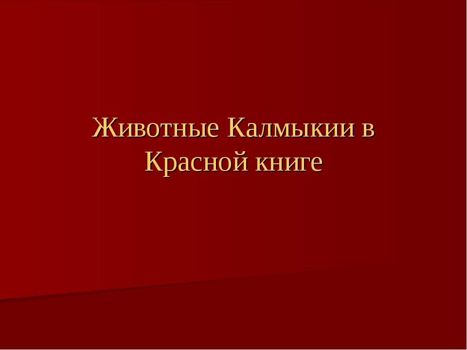 Животные Калмыкии в Красной книге
