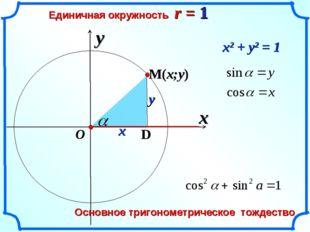 x Единичная окружность r = 1 y O x y x2 + y2 = 1 1 Основное тригонометрическо