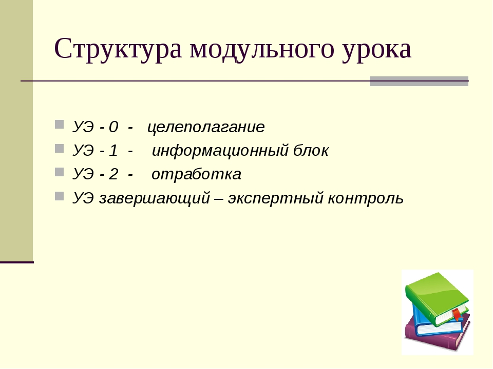 Структура модульного урока УЭ - 0 - целеполагание УЭ - 1 - информационный бло...