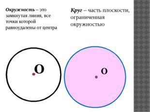Окружность – это замкнутая линия, все точки которой равноудалены от центра О