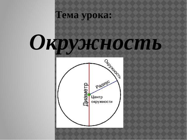 Тема урока: Окружность