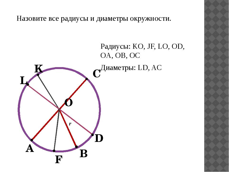 О В А r С L K F D Назовите все радиусы и диаметры окружности. Радиусы: KO, J...