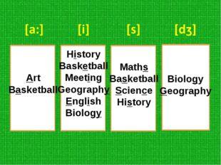 Art Basketball History Basketball Meeting Geography English Biology Maths Bas