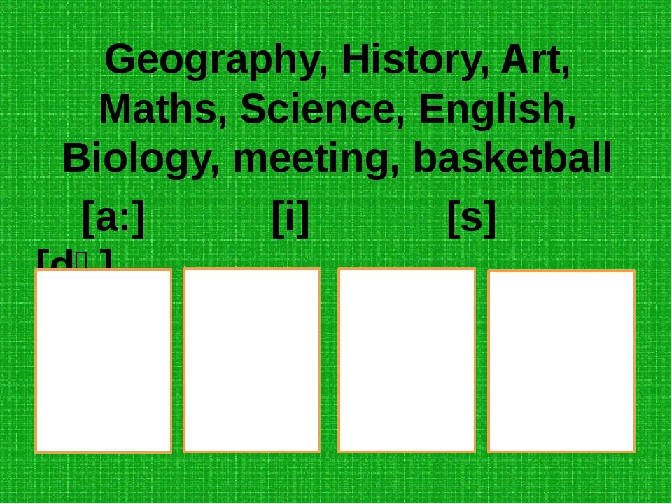 Geography, History, Art, Maths, Science, English, Biology, meeting, basketbal...