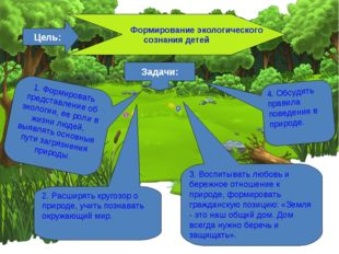 Цель: Формирование экологического сознания детей Задачи: 1. Формировать предс