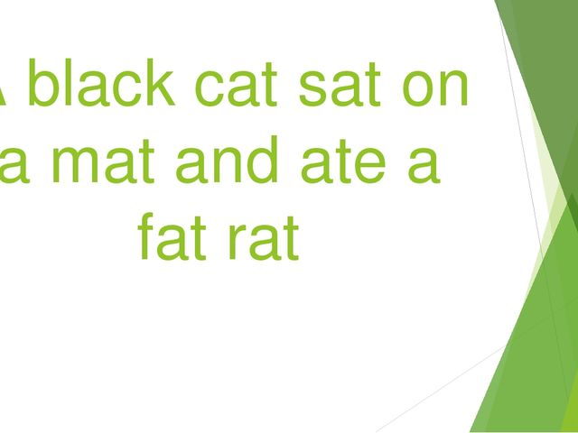 A black cat sat on a mat and ate a fat rat