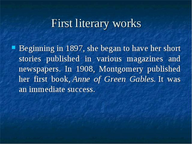 First literary works Beginning in 1897, she began to have her short stories p...