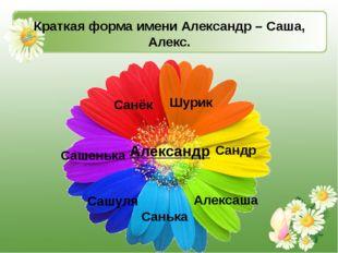 Краткая форма имени Александр – Саша, Алекс. Шурик Александр Санёк Сандр Саш