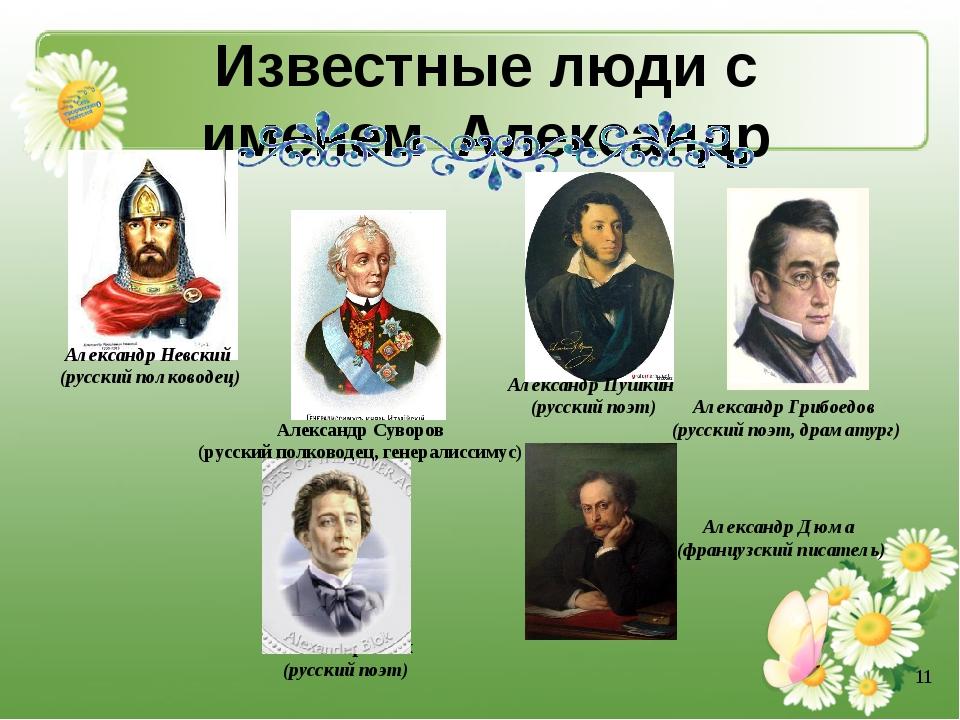 Известные люди с именем Александр Александр Невский (русский полководец) Алек...