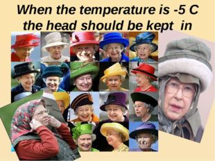 When the temperature is -5 C the head should be kept in warmth