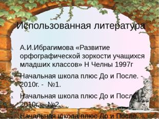 Использованная литература А.И.Ибрагимова «Развитие орфографической зоркости у