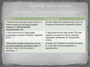 Пример заполнения двойного дневника 2 вариант Цитаты Комментарии «Зимняя ноч