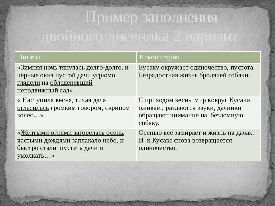 Пример заполнения двойного дневника 2 вариант Цитаты Комментарии «Зимняя ноч...