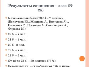 Результаты сочинения – эссе (№ 25) Максиальный балл (23 б.) – 7 человек (Бело