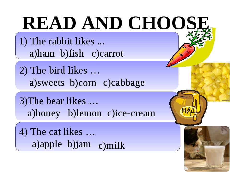 READ AND CHOOSE 1) The rabbit likes ... a)ham b)fish 2) The bird likes … a)sw...