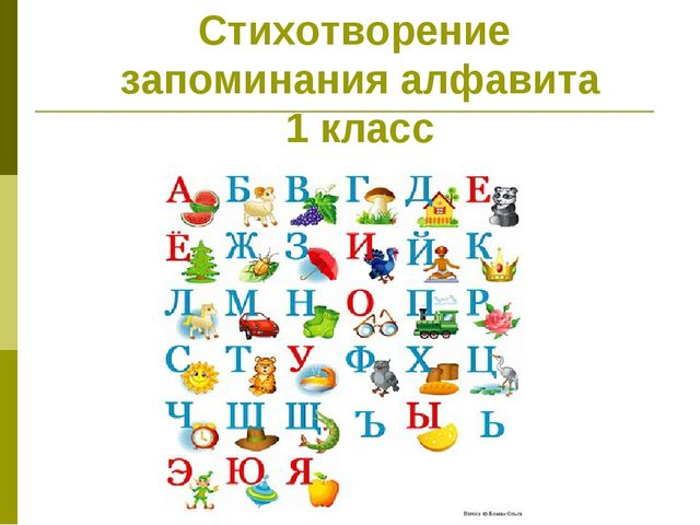 Стихотворение запоминания алфавита 1 класс