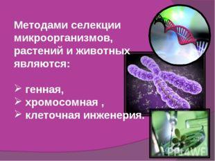 Методами селекции микроорганизмов, растений и животных являются: генная, хром