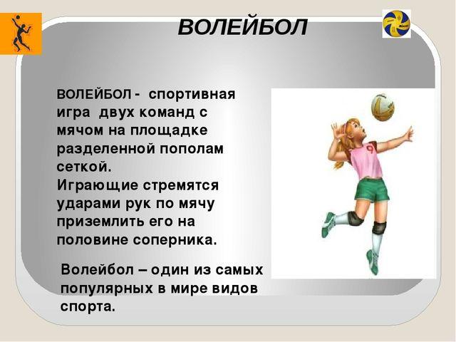 ВОЛЕЙБОЛ Волейбол – один из самых популярных в мире видов спорта. ВОЛЕЙБОЛ -...