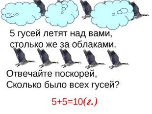 5 гусей летят над вами, столько же за облаками. Отвечайте поскорей, Сколько б
