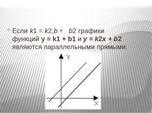Еслиk1= k2,b1 b2графики функцийy = k1+ b1иy = k2x + b2 являются п