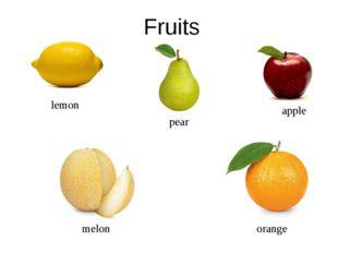 Fruits apple orange lemon pear melon