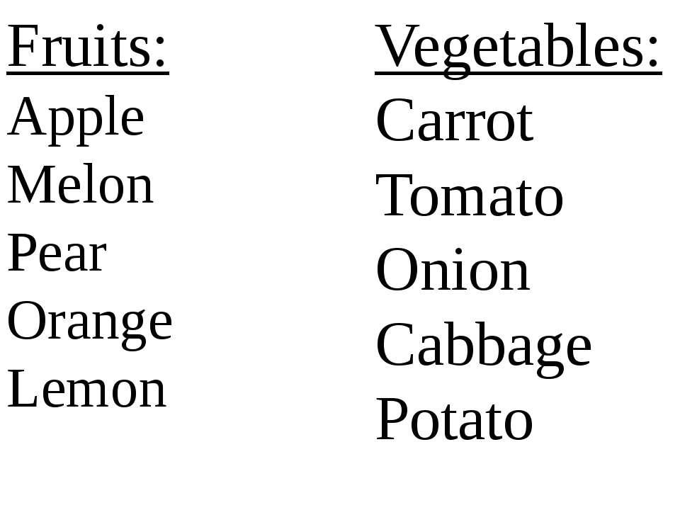 Fruits: Apple Melon Pear Orange Lemon Vegetables: Carrot Tomato Onion Cabbage...