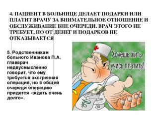 5. Родственникам больного Иванова П.А. главврач недвусмысленно говорит, что е