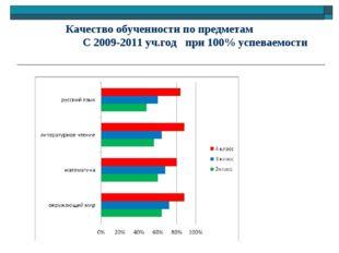 Качество обученности по предметам С 2009-2011 уч.год при 100% успеваемости