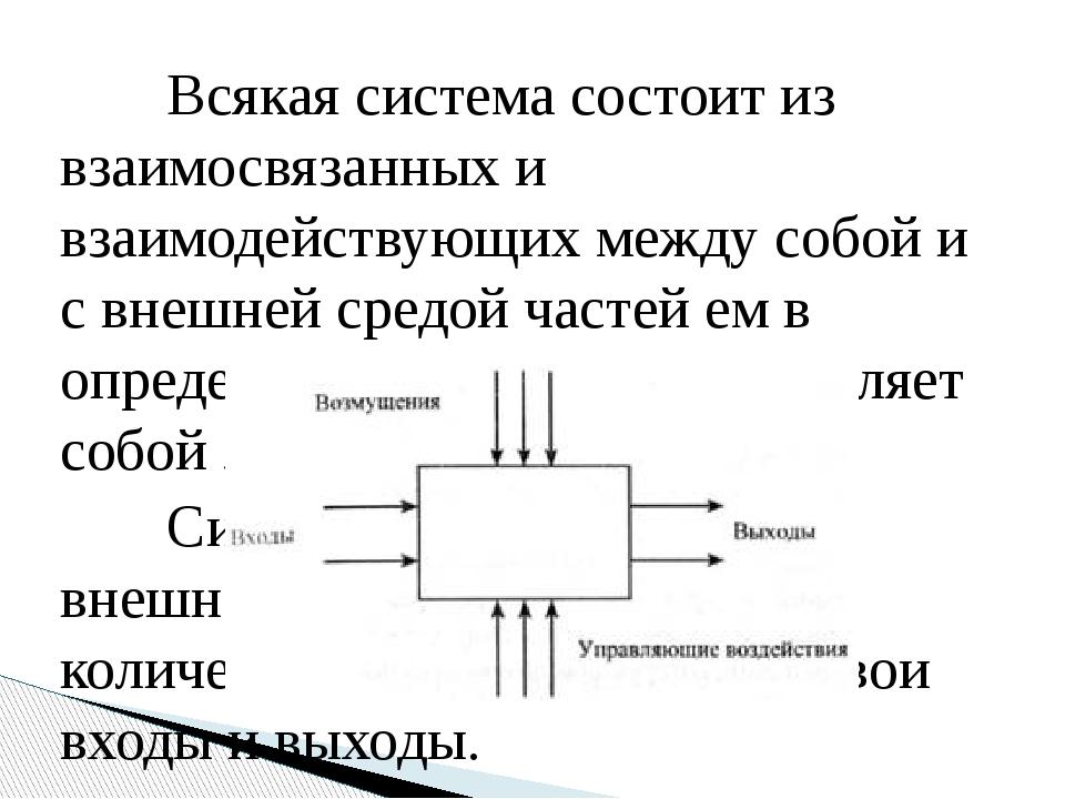 Всякая система состоит из взаимосвязанных и взаимодействующих между собой и...