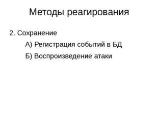 Методы реагирования 2. Сохранение А) Регистрация событий в БД Б) Воспроиз