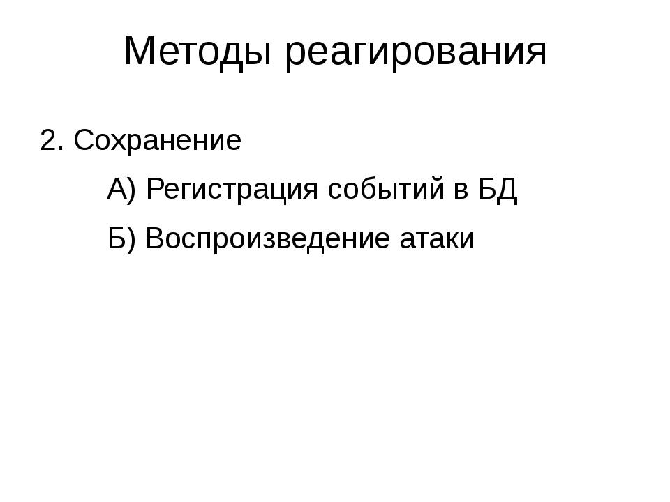 Методы реагирования 2. Сохранение А) Регистрация событий в БД Б) Воспроиз...