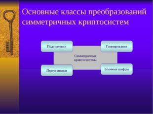 Симметричные криптосистемы Основные классы преобразований симметричных крипто
