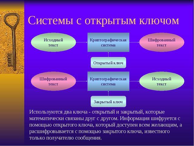 Системы с открытым ключом Используются два ключа - открытый и закрытый, котор...