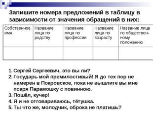 Запишите номера предложений в таблицу в зависимости от значения обращений в н