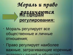 Мораль и право различаются Мораль регулирует все общественные и личные отноше