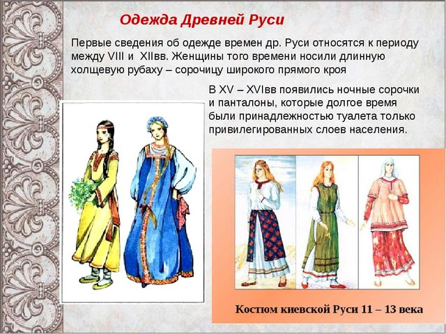 Одежда Древней Руси В XV – XVIвв появились ночные сорочки и панталоны, которы...