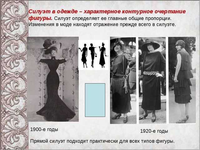 Силуэт в одежде – характерное контурное очертание фигуры. Силуэт определяет е...