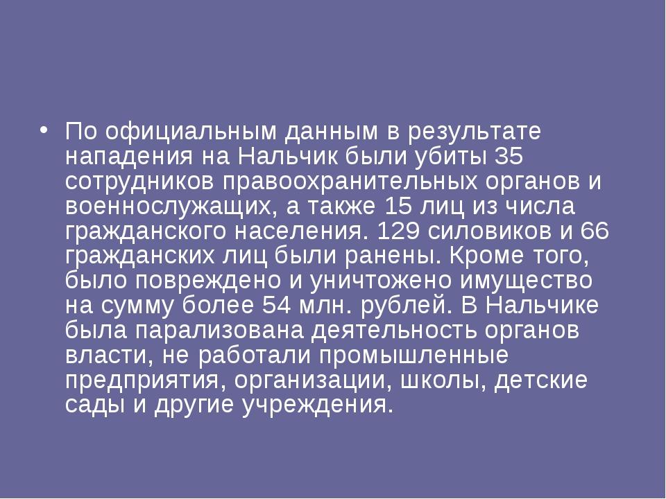По официальным данным в результате нападения на Нальчик были убиты 35 сотрудн...