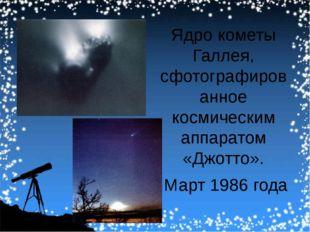 Ядро кометы Галлея, сфотографированное космическим аппаратом «Джотто». Март 1