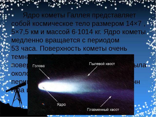 Ядро кометы Галлея представляет собой космическое тело размером 14×7 ,5×7,5...