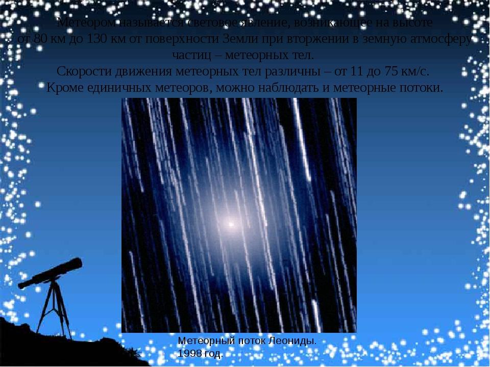 Метеоромназываетсясветовоеявление, возникающеенавысоте от80 кмдо130...