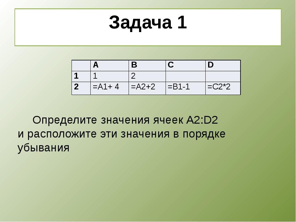 Задача 1    Определите значения ячеек А2:D2 и расположите эти значения в...