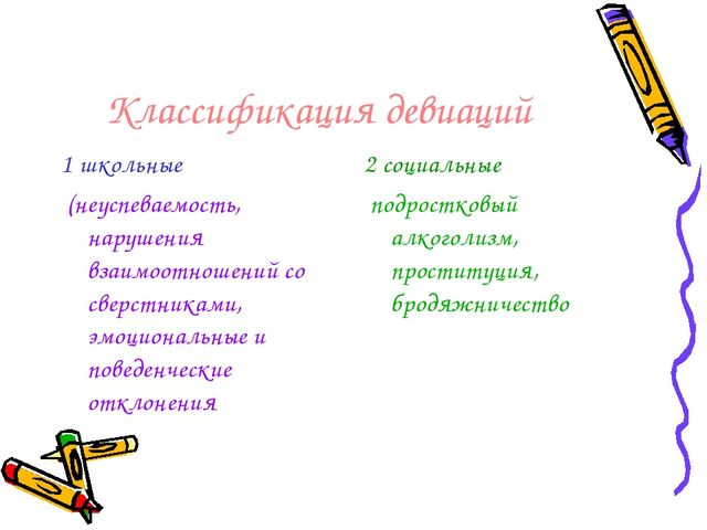 Классификация девиаций 1 школьные (неуспеваемость, нарушения взаимоотношений...